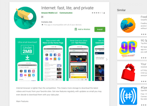 Amazon launches 'Internet' a lite web browser for Android in India