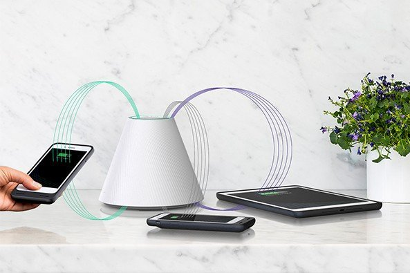 This pad-free charger senses devices with low charge and powers them