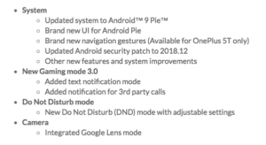 One Plus rolls out Android 9 Pie OS update for One Plus 5 and One Plus 5T